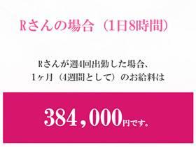 1日8時間×週4日=384,000円の収入